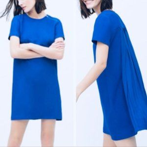 NWOT Zara Royal Blue Pleated Back Dress - Size XS